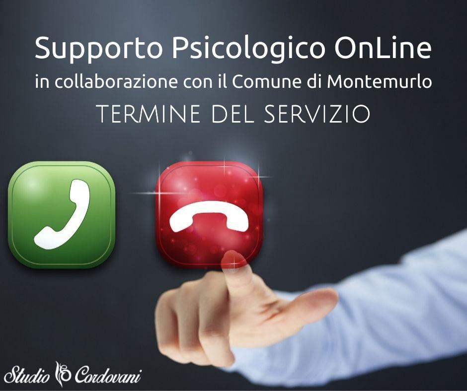 Termine Servizio Supporto Psicologico OnLine in collaborazione con il Comune di Montemurlo